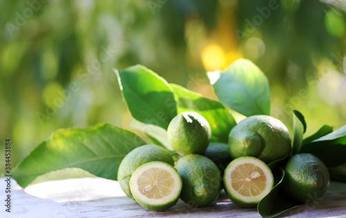 Fototapeta green lemons, slices and leaves on table
