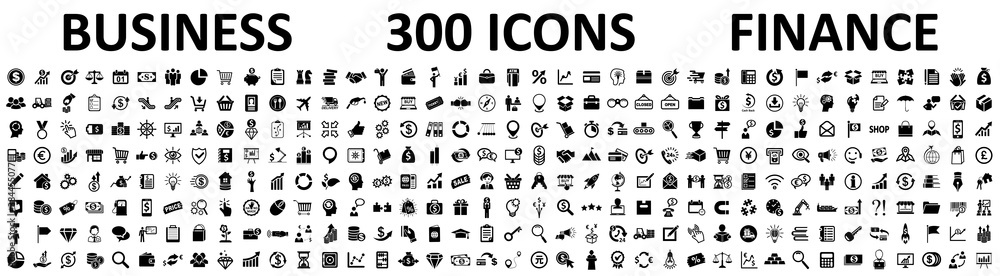 Fototapeta Set of 300 Business icons. Business and Finance web icons isolated. Money, contact, bank, check, law, auction, exchange, payment, wallet, deposit, piggy, calculator, coin and many more - stock vector