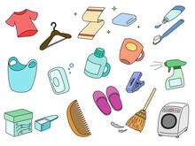 日用品 服 洗濯機 ハンガー 洗濯カゴ 石鹸 くし スリッパ 洗濯バサミ 歯ブラシ タオル 洗剤等
