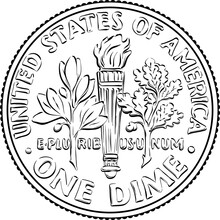 American Money Roosevelt Dime, United States One Dime Or 10-cent Silver Coin, Olive Branch, Torch, Oak Branch On Reverse. Black And White Image