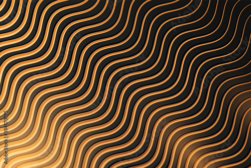 Photo Abstract black background with golden waves