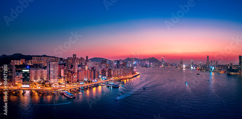 Hong Kong Cityscapes in magic hour