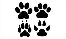 Dog And Cat Pawprint Vector And Illustration