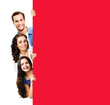 Leinwandbild Motiv Family portrait image - happy smiling father, mother and little daughter peek out from behind blank red color sign board, isolated over white background. Empty paper broadsheet with ad copyspace area.