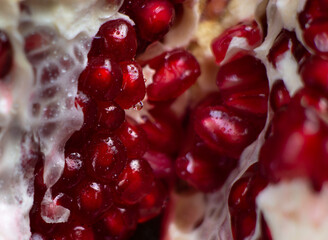 Close-up of the inner contents of a cut pomegranate. Close-up of pomegranate seeds are visible. Background.