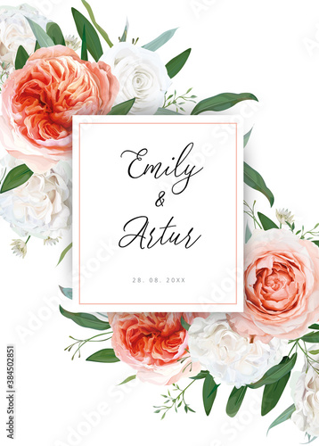 Wedding floral invite, greeting card design. Ivory white, blush peach roses, pale coral Juliette rose flowers, eucalyptus greenery leaves decoration. Elegant, stylish, delicate, cute editable template