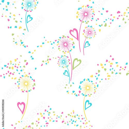 Valokuva Dandelion flowers cute vector seamless pattern.