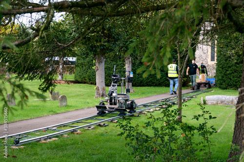 Obraz na plátně A film crew preparing to shoot a film movie scene Amersham, Buckinghamshire Engl