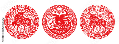 Canvas Metal Ox Chinese New Year symbol in peonies isolated set of circles