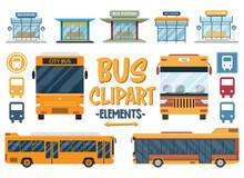 Set Of Bus Travel Clipart. Cit...