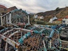 Staithes In North Yorkshire, Near Whitby, England, UK In Winter