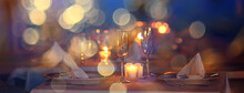 Evening In A Restaurant, Blurred Abstract Background, Bokeh, Alcohol Concept, Wine Glasses In A Bar