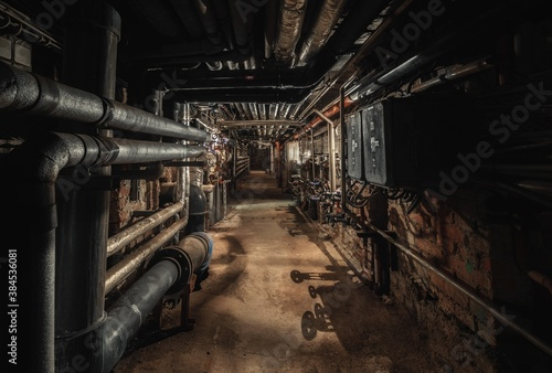 Cuadros en Lienzo Old abandoned underground passage point of view