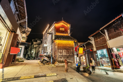 Fototapety, obrazy: Night view of street buildings in Huizhou ancient city