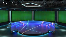 3d Virtual News Studio Green Screen Background. 3d Rendering. With A Simple Setup, A Few Square Feet Of Space, And Virtual Set, You Can Transform Any Location Into A Spectacular Virtual Set.
