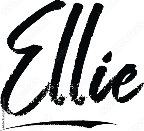 Fotografía Ellie-Female name Modern Brush Calligraphy on White Background