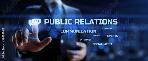 Fototapeta PR Public relation management. Business communications concept. obraz