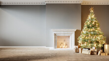 Modern Classic Gray Empty Interior With Fireplace, Christmas Tree And Gifts. 3d Render Illustration Mock Up