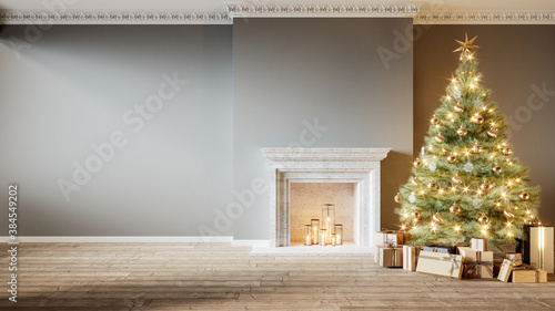 Obraz Modern classic gray empty interior with fireplace, christmas tree and gifts. 3d render illustration mock up - fototapety do salonu