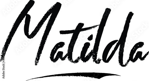 Photo Matilda. Female name Modern Brush Calligraphy on White Background
