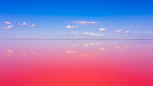 Incredible And Amazing View From A Height Of The Pink Lake Sasyk-sivash On A Bright Summer Day