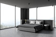 canvas print picture - Modern wooden and gray master bedroom corner