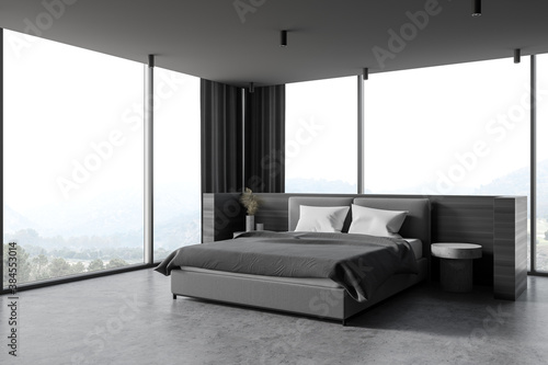 Modern wooden and gray master bedroom corner - 384553014