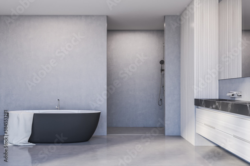 Obraz Tub, shower and sink in white bathroom interior - fototapety do salonu