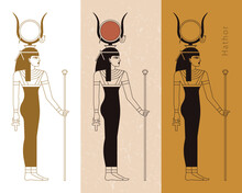 A Collection Of Vector Illustrations By The Ancient Egyptian Goddess Hathor From The Ankh.