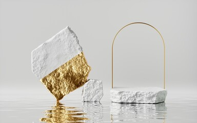 3d render, abstract white gold background with cobblestones and golden arch frame, stands on the wet floor with reflections, modern minimal showcase for product display. Empty stage with vacant podium