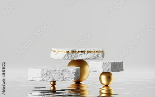 Canvastavla 3d render, abstract modern minimal background with reflection in the water