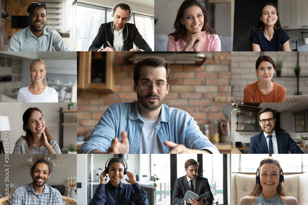 Fototapeta Diverse multiracial colleagues talk speak on video call engaged in group online briefing in home office. Multiethnic businesspeople have webcam team digital conference or virtual event meeting.