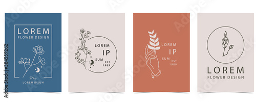 Photo Collection of flower background set with hand, flower, lavender,shape