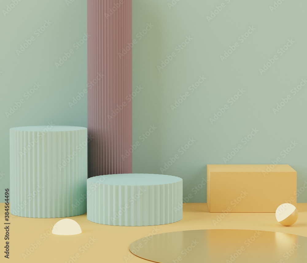 Fototapeta 3D Podium stand with pastel color arches scene. Minimalist geometric vacant platform for mock up and presentation. Abstract background for commercial and cosmetic advertising.