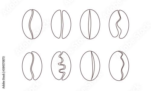 Sets of Seed Coffee Hand drawn black outline Fotobehang