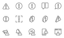 Warnings Vector Line Icons Set. Alert, Attention Sign, Exclamation Mark. Editable Stroke. Pixel Perfect.
