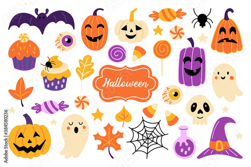 Obraz Halloween holiday cute element set. Childish print for card, stickers, party invitations and apparel. Vector Illustration - fototapety do salonu