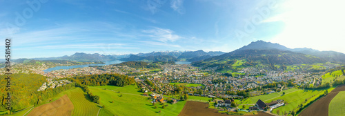 Fotografie, Obraz Wide panorama of the canton of Lucerne