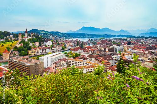 Fototapeta Lucerne city aerial panoramic view, Switzerland obraz na płótnie