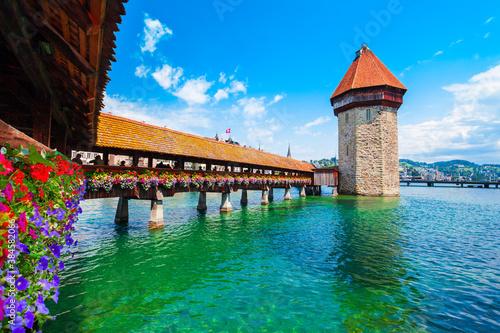 Kapellbrucke Bridge, Wasserturm Tower, Lucerne Wallpaper Mural