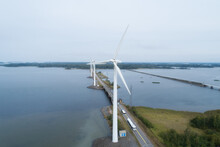 Wind Turbines Near Highway. Wi...