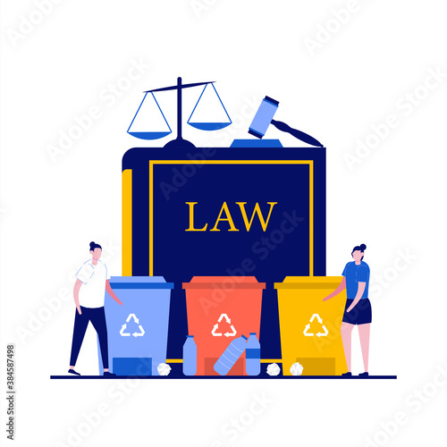 Obraz Recycling laws concept with character. Law book with trash cans and house hold waste, judge gavel, scales of justice. Modern flat style for landing page, mobile app, web banner, hero images - fototapety do salonu