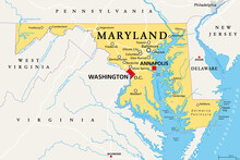 Maryland, MD, Political Map. State In The Mid-Atlantic Region Of The United States Of America. Capital Annapolis. Old Line State. Free State. Little America. America In Miniature. Illustration. Vector