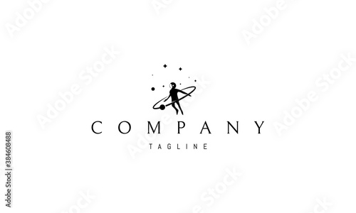 Vector logo on which an abstract image of an astronaut in open space.