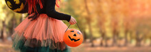 Little Girl In Witch Costume W...