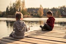 Two Cute Little Caucasian Boys...
