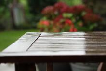 In The Rain: Wooden Garden Fur...