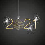 Merry Christmas and Happy New Year 2021 christmas ball firework gold black greeting card vector