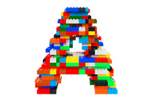 Letter A From Colorful Building Toy Blocks, 3D Rendering