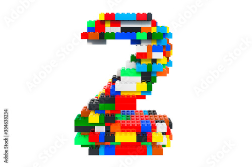 Number 2 from colorful building toy blocks, 3D rendering